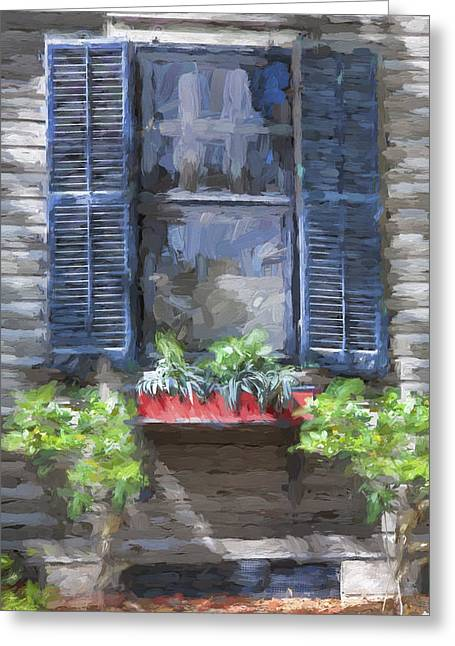 Historic Home Greeting Cards - Red Flower Box St Augustine Painted  Greeting Card by Rich Franco