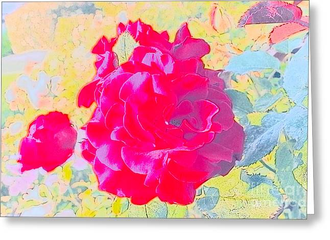 Pink And Green Hues Greeting Cards - Red Flower Glory Greeting Card by DJ Laughlin