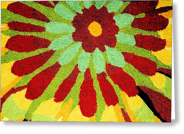 Photograph Tapestries - Textiles Greeting Cards - Red Flower Rug Greeting Card by Janette Boyd