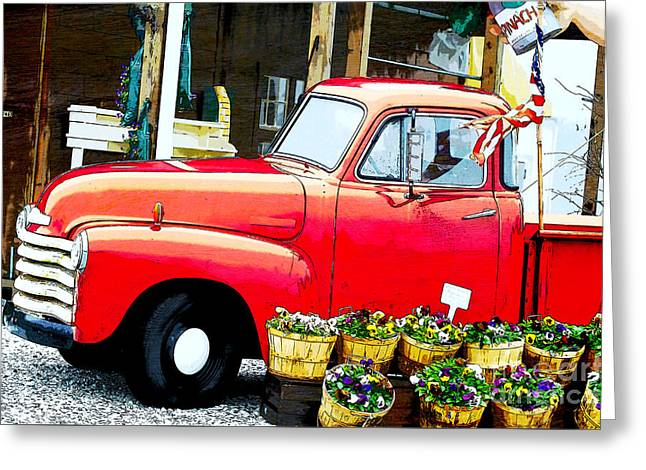 Country Cottage Mixed Media Greeting Cards - Red Flower Truck Americana  Greeting Card by ArtyZen Studios - ArtyZen Home