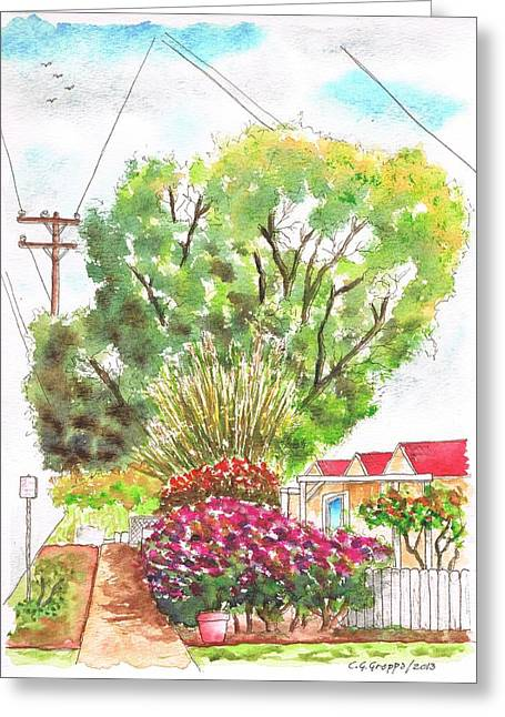 Architecrure Greeting Cards - Red flowers and a tree in Santa Paula - California Greeting Card by Carlos G Groppa