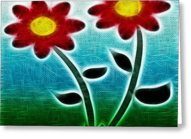 Red Flowers - Digitally Created and altered with a filter Greeting Card by Gina Lee Manley