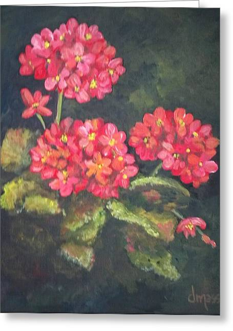 Red Geraniums Greeting Cards - Red Flowers Greeting Card by Donna Massey