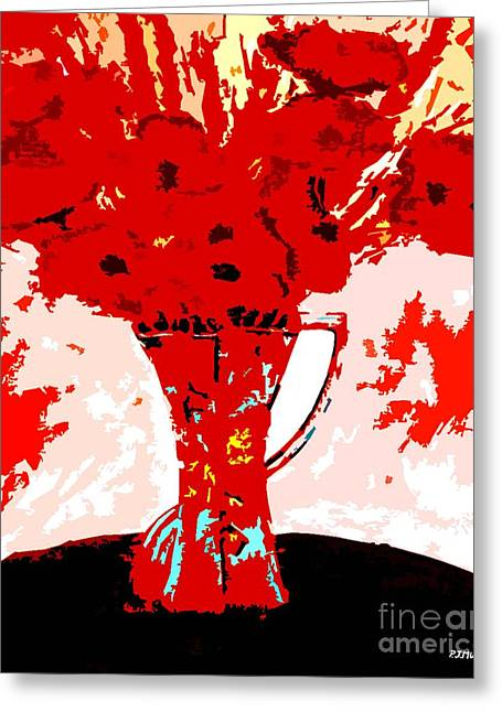 Flower Still Life Prints Greeting Cards - Red Flowers In A Vase Greeting Card by Patrick J Murphy