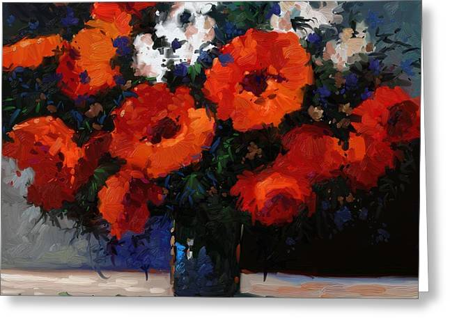 Abstract Vase Flower Print Greeting Cards - Red Flowers in blue vase painting Greeting Card by Kanayo Ede