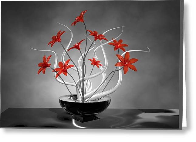 Comtemporary Art Greeting Cards - Red Flowers Greeting Card by Louis Ferreira
