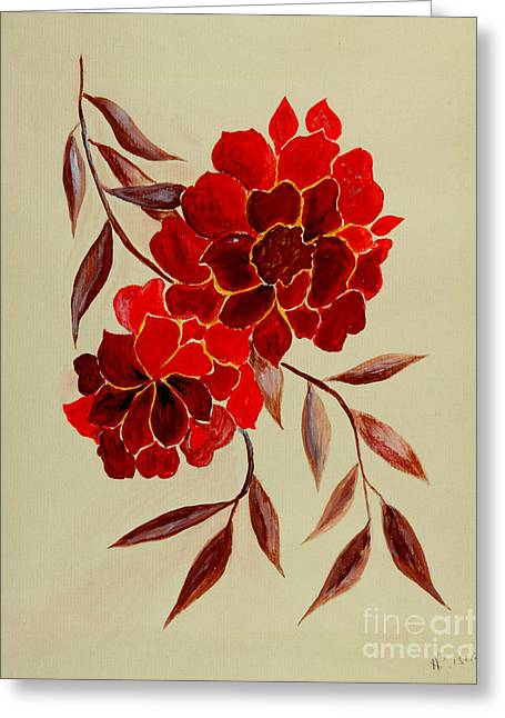 Veronica Rickard Greeting Cards - Red Flowers - painting Greeting Card by Veronica Rickard