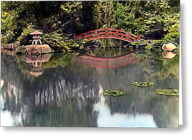 Pond Paintings Greeting Cards - Red Foot Bridge Greeting Card by Terry Reynoldson