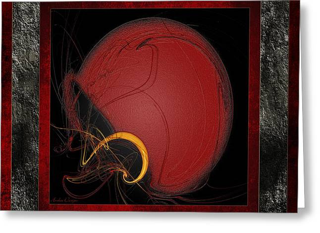 Safety Gear Digital Art Greeting Cards - Red Football Helmet Abstract Frames 1 Greeting Card by Andee Design