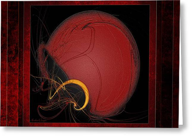 Safety Gear Digital Art Greeting Cards - Red Football Helmet Abstract With 3 Greeting Card by Andee Design