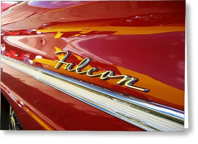Red Falcon Greeting Cards - Red Ford Falcon Badge Greeting Card by Nomad Art And  Design