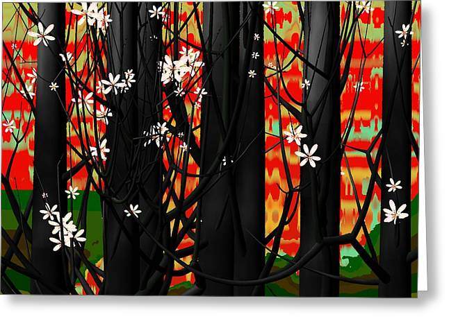 Abstract Trees Greeting Cards - Red forest Greeting Card by GuoJun Pan