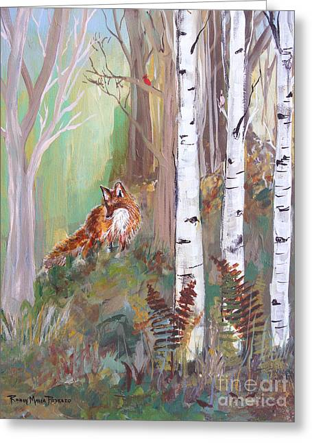 Fox Kit Paintings Greeting Cards - Red Fox and Cardinals Greeting Card by Robin Maria  Pedrero