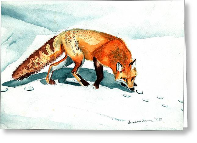 Redcoat Greeting Cards - Red Fox Greeting Card by Genevieve Esson