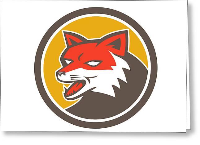 Growling Digital Greeting Cards - Red Fox Head Growling Circle Retro Greeting Card by Aloysius Patrimonio