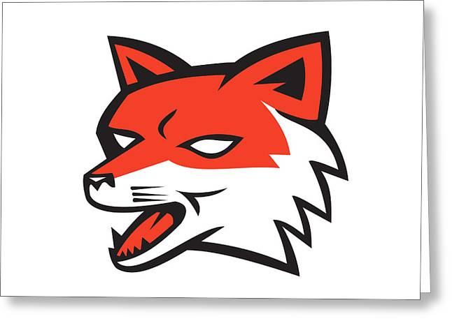 Growling Digital Greeting Cards - Red Fox Head Growling Retro Greeting Card by Aloysius Patrimonio