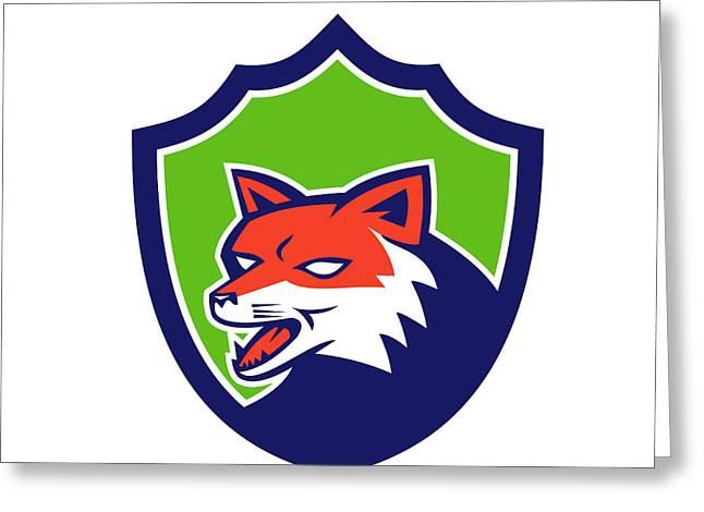 Growling Digital Greeting Cards - Red Fox Head Growling Shield Retro Greeting Card by Aloysius Patrimonio
