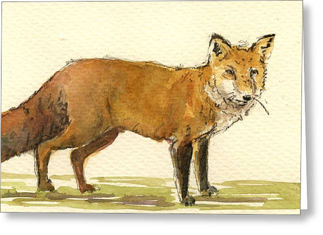 Wildlife Watercolor Greeting Cards - Red fox Greeting Card by Juan  Bosco