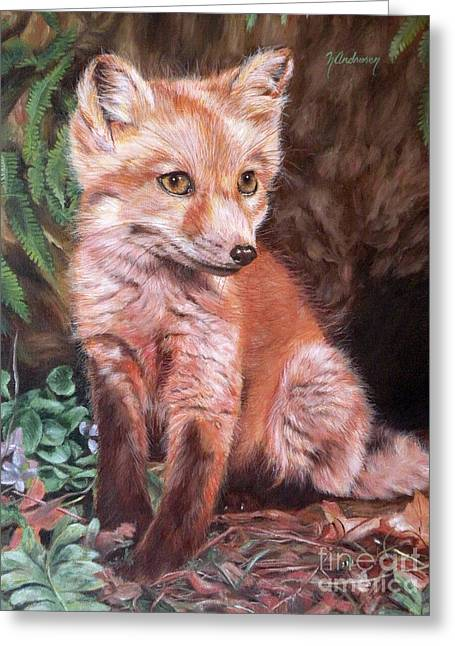 Fox Kit Paintings Greeting Cards - Red Fox Kit Greeting Card by Nancy Andresen