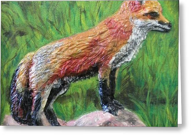 Red Fox Greeting Card by Lorrie T Dunks