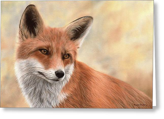 Red Fox Painting Greeting Card by Rachel Stribbling
