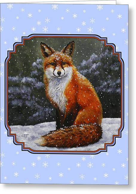 Xmas Dog Greeting Cards - Red Fox Snowflakes Greeting Card by Crista Forest