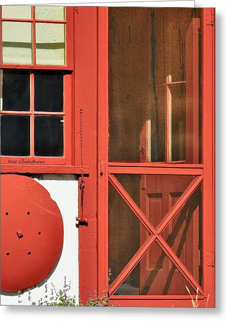 Screen Door Greeting Cards - Red Framed Window and Door Greeting Card by Kae Cheatham
