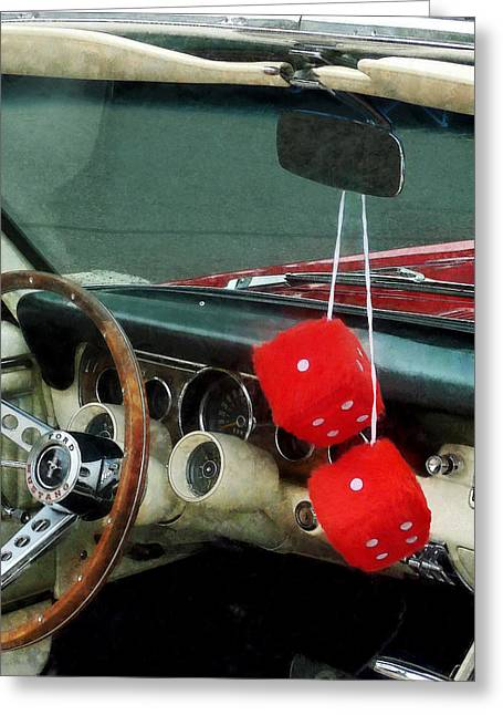Red Fuzzy Dice In Converible Greeting Card by Susan Savad