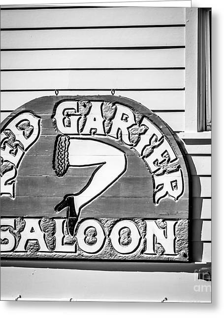 Saloons Greeting Cards - Red Garter Key West - Square - Black and White Greeting Card by Ian Monk