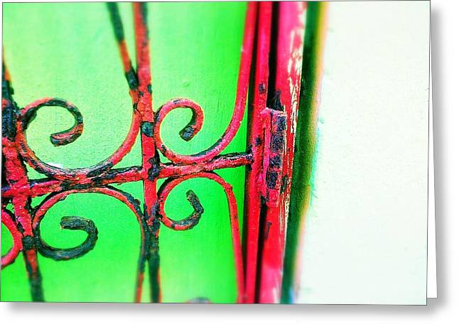 Old San Juan Greeting Cards - Red gate Greeting Card by Olivier Calas
