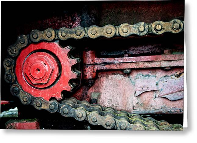Gears Wheel Greeting Cards - Red gear wheel and chain of old locomotive Greeting Card by Matthias Hauser