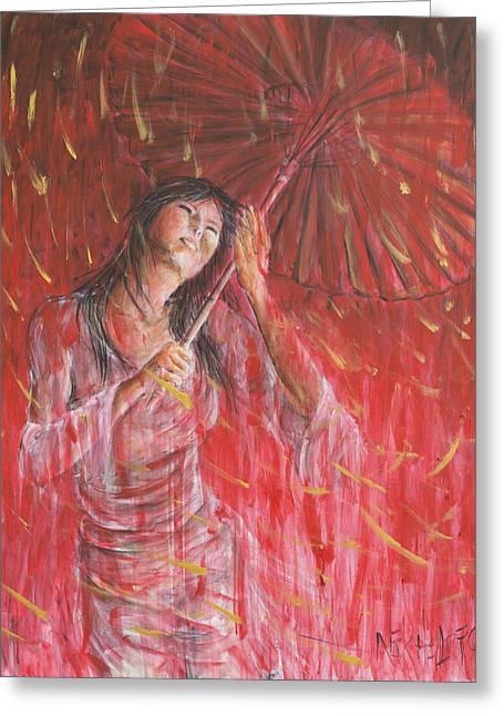 Red Geisha Rain Storm Greeting Card by Nik Helbig