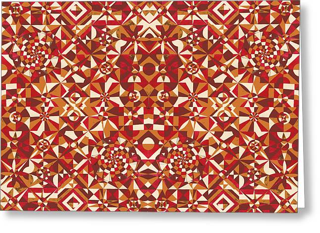 Geometrical Art Mixed Media Greeting Cards - Red geometrics Greeting Card by Sumit Mehndiratta