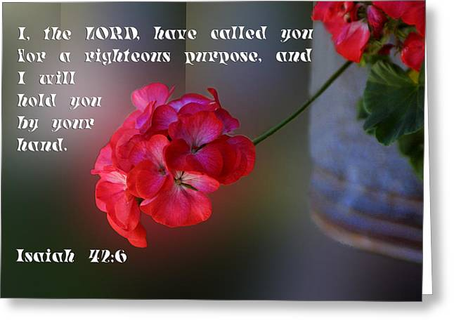 Isaiah Greeting Cards - Red Geranium Is 42v6 Greeting Card by Linda Phelps