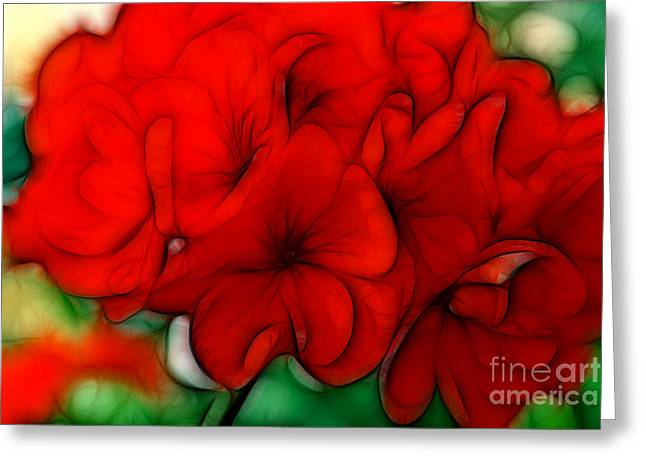 Red Geraniums Mixed Media Greeting Cards - Red Geranium Greeting Card by Jayne Carney