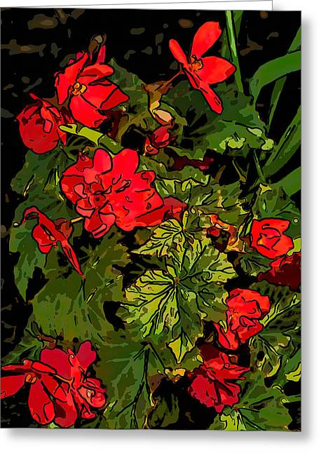 Red Geraniums Greeting Cards - Red Geranium line art Greeting Card by Steve Harrington