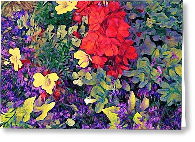 Red Geraniums Digital Greeting Cards - Red Geranium with Yellow and Purple Flowers - Horizontal Greeting Card by Lyn Voytershark