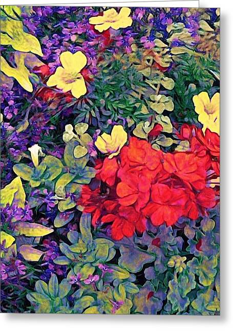 Red Geraniums Digital Greeting Cards - Red Geranium with Yellow and Purple Flowers - Vertical Greeting Card by Lyn Voytershark