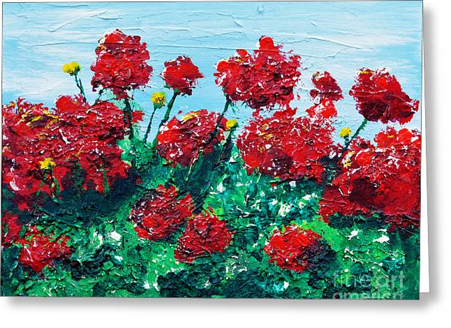 Red Geraniums Greeting Cards - Red Geraniums Greeting Card by Alys Caviness-Gober