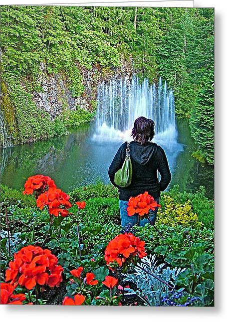 Red Geraniums Digital Greeting Cards - Red Geraniums and Ross Fountain in Butchart Gardens near Victoria-BC Greeting Card by Ruth Hager