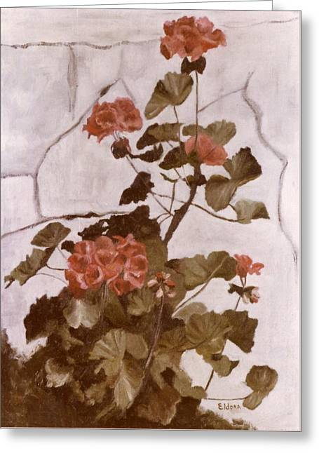 Red Geraniums Greeting Cards - Red Geraniums Greeting Card by Eldora  Larson
