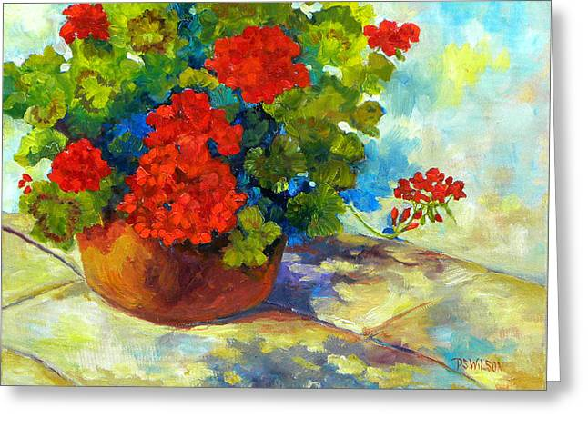 Red Geraniums Paintings Greeting Cards - Red Geraniums I Greeting Card by Peggy Wilson