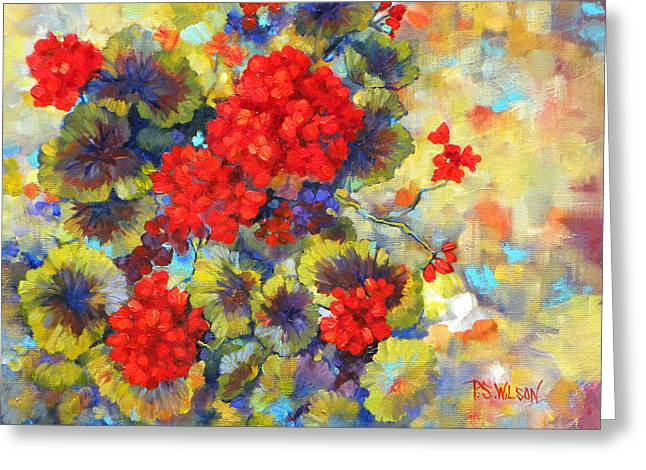 Red Geranium Greeting Cards - Red Geraniums II Greeting Card by Peggy Wilson