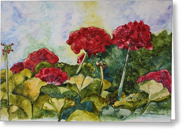 Patsy Sharpe Greeting Cards - Red Geraniums Greeting Card by Patsy Sharpe