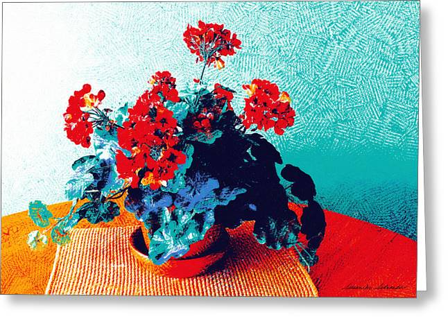 Red Geraniums Greeting Cards - Red Geraniums Still Life Greeting Card by Susan Schroeder