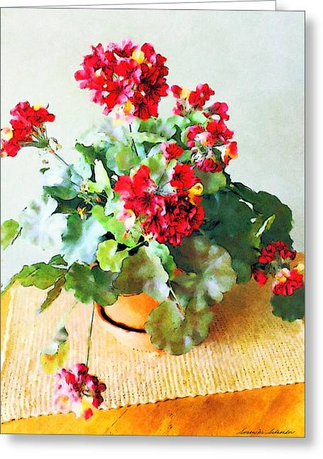 Red Geraniums Digital Greeting Cards - Red Geraniums Greeting Card by Susan Schroeder