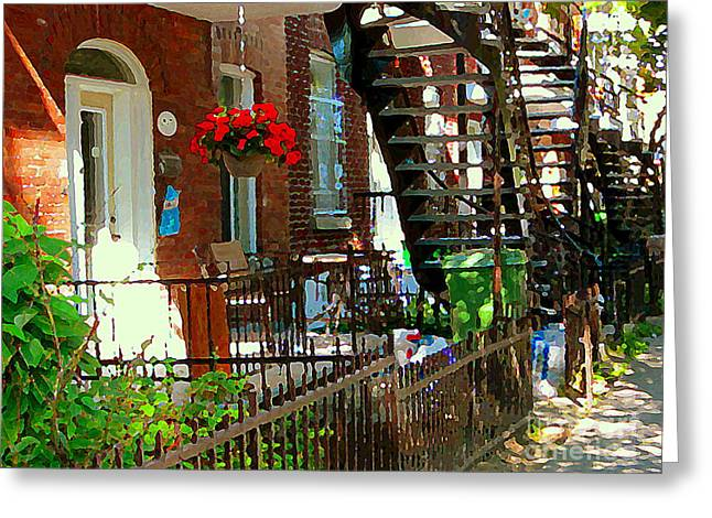 Montreal Staircases Greeting Cards - Red Geraniums Verdun Winding Staircases Hanging Flower Basket Montreal Porch Scene Carole Spandau Greeting Card by Carole Spandau