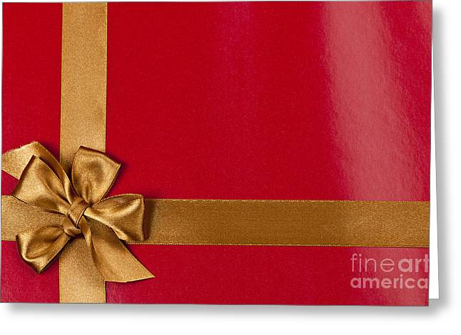 Surprise Greeting Cards - Red gift background with gold ribbon Greeting Card by Elena Elisseeva
