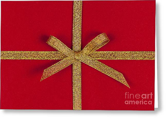 Surprise Greeting Cards - Red gift with gold ribbon Greeting Card by Elena Elisseeva