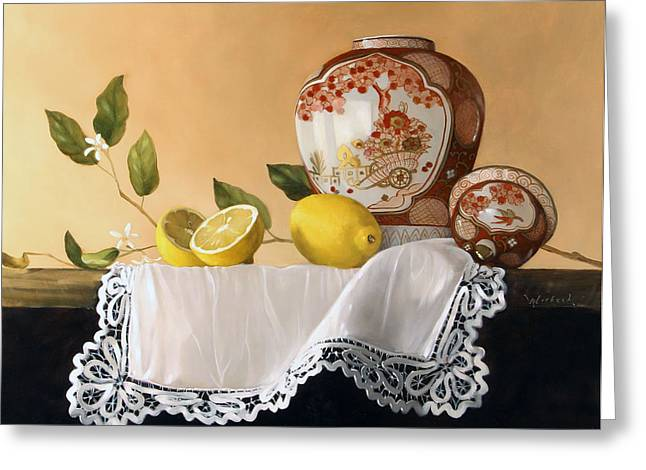 Red Ginger Jar With Lemons Greeting Card by James Whitbeck